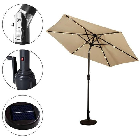 Patio Umbrella with Steel Pole Crank Tilt and Solar LED Lights