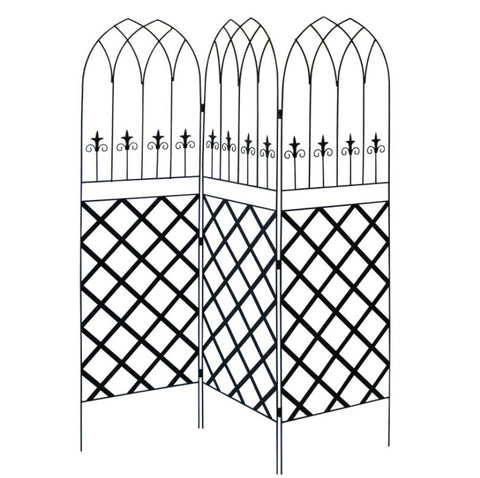 6-Ft High 3-Panel Black Metal Lattice Screen Garden Trellis - 1 x 19.8 x 72 inches