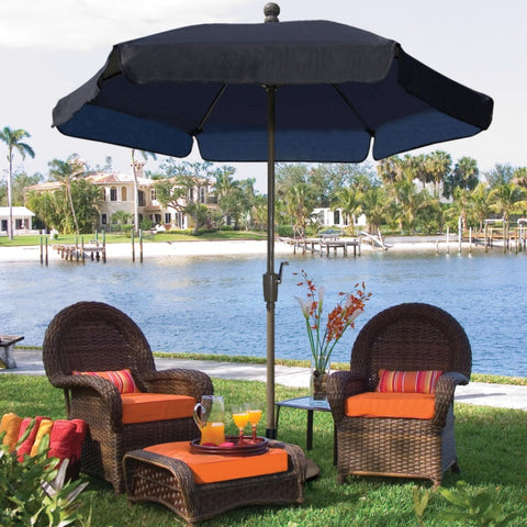 7.5-Ft Patio Umbrella for Outdoor Garden with Tilt Navy Shade