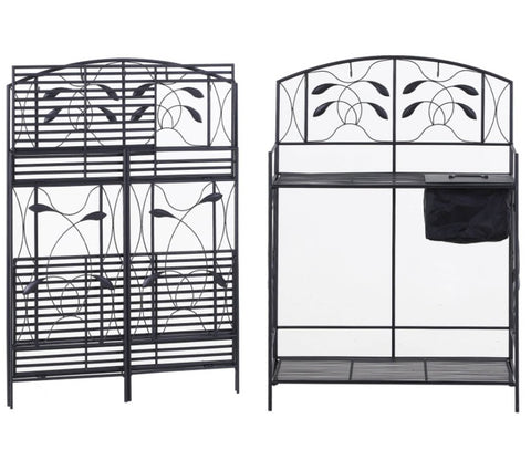 Black Metal Potting Bench with Wrought Iron Vine - 48W x 24D x 60H