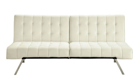 Split-back Modern Futon Style Sleeper Sofa Bed in Vanilla Faux Leather - 71 x 36.5 x 31.1