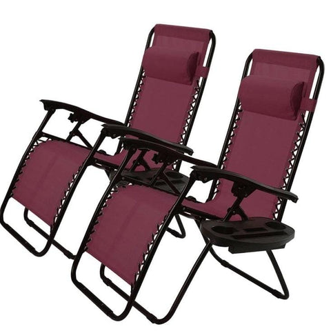 Set of 2 Burgundy Wine Red Folding Chair