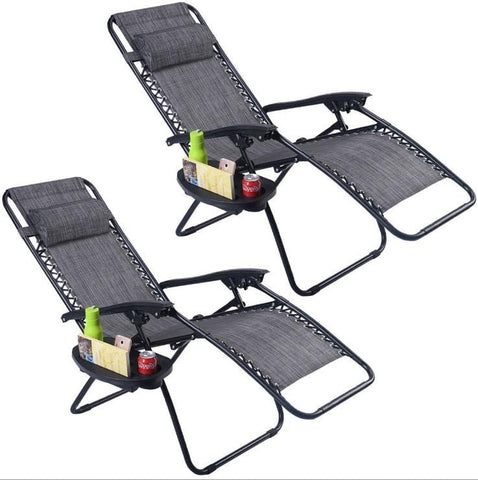 Set of 2 Grey Folding Outdoor Lounge Chair Recliner