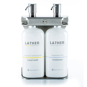 Brushed Stainless Steel Double Oval Bottle Amenity Fixture