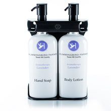 Load image into Gallery viewer, Black PVD Stainless Steel Double 9oz Oval Bottle Amenity Fixture