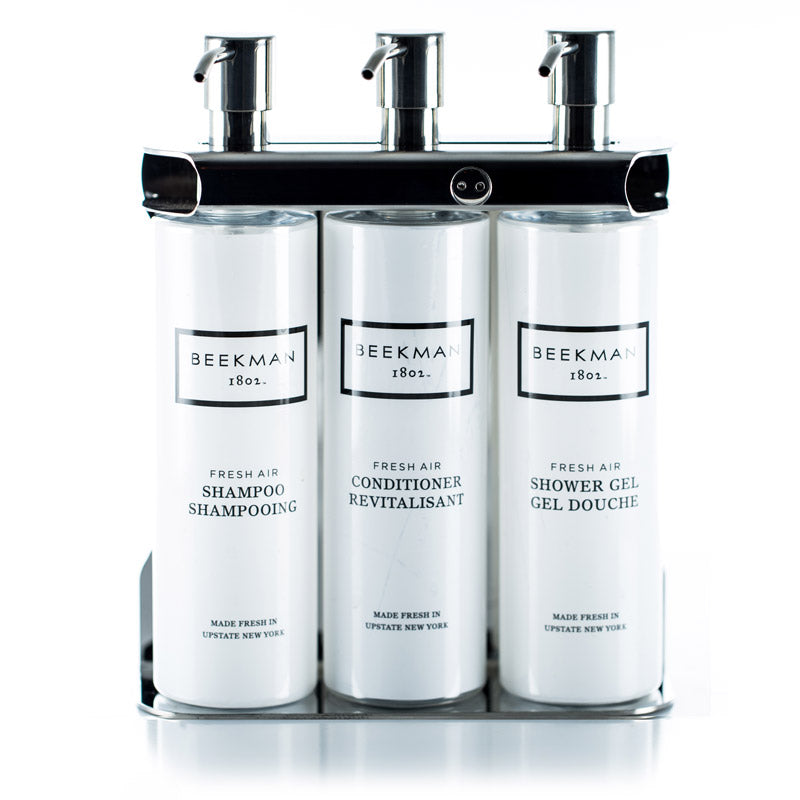 Triple Amenity Fixture with 12 ounce cylinder bottles