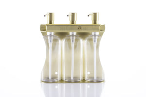 Brushed Gold PVD  Stainless Steel Triple 9oz Oval Bottle Amenity Fixture
