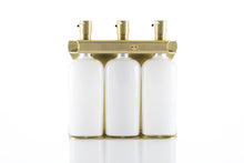 Load image into Gallery viewer, Brushed Gold PVD  Stainless Steel Triple 9oz Oval Bottle Amenity Fixture