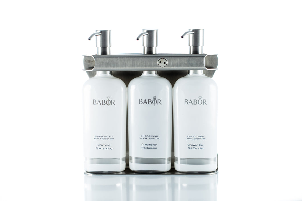 Brushed Stainless Steel Triple Oval Bottle Amenity Fixture