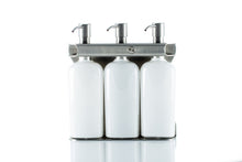 Load image into Gallery viewer, Brushed Stainless Steel Triple Oval Bottle Amenity Fixture