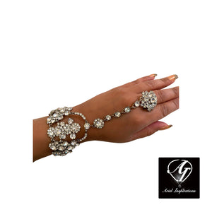 Swarovski Crystal Ring Bracelet - Romantic Silver-Wedding/Party Jewelry- Woman's Jewelry