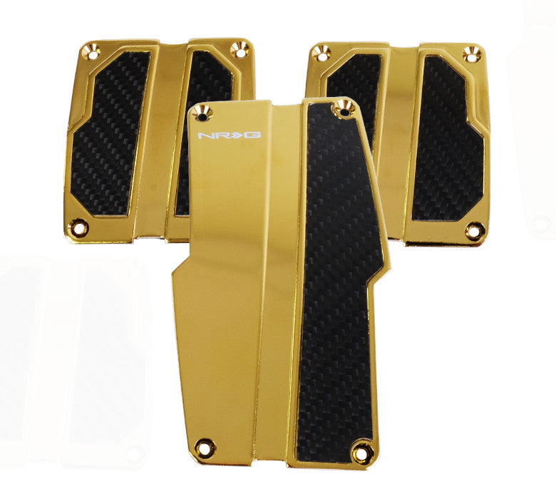NRG PDL-100CG: Brushed Aluminum Sport Pedal Chrome Gold w/ Black Carbon MT - Drive NRG