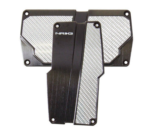 NRG PDL-150BK: Brushed Aluminum Sport Pedal Black w/ Silver Carbon AT