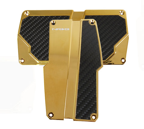 NRG PDL-150CG: Brushed Aluminum Sport Pedal Chrome Gold w/ Black Carbon AT
