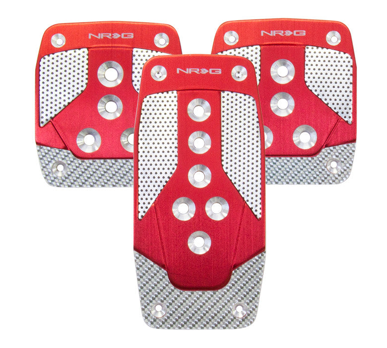 NRG PDL-400RD: Brushed Aluminum Sport Pedal Red w/ Silver Carbon MT