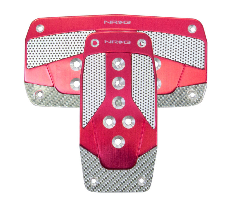 NRG PDL-450RD: Aluminum Sport Pedal Red w/ Silver Carbon AT