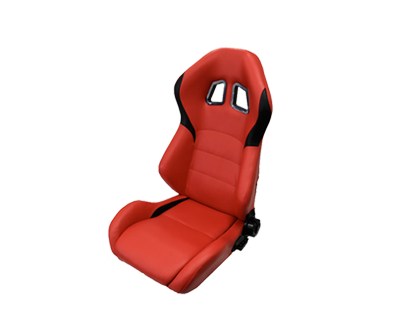 NRG RSC-202: PVC Leather Sport Seats Red w/ Black Trim (Pair)