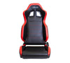 NRG RSC-206: PVC Sport Seat Black w/ Red Stitch with logo (Pair) - Drive NRG