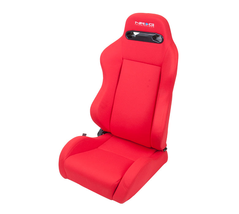 NRG RSC-210: Type-R Cloth Sport Seat - Red w/ Red Stitch with NRG Logo (Pair) - Drive NRG