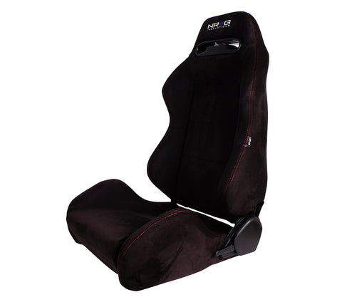 NRG RSC-220: Type-R Suede Sport Seat - Black w/ Red Stitch with NRG Logo (Pair)