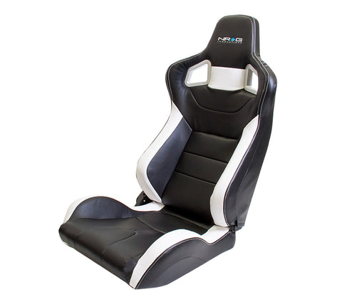 NRG RSC-700: PVC Sport Black Seat with White Stitch and Logo