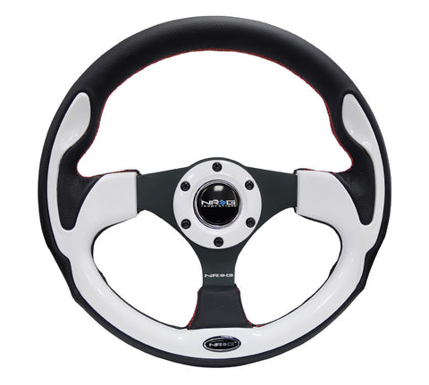 NRG RST-001WT: 320mm Sport Steering Wheel with White Inserts
