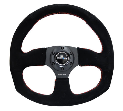 NRG RST-009S-RS: 320mm Racey Style Suede Steering Wheel with Red Stitching
