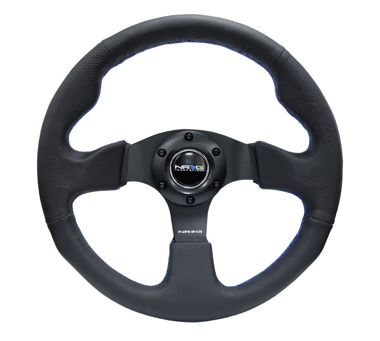 NRG 320mm Sport Leather Steering Wheel Blue Stitching ST-012R-BL