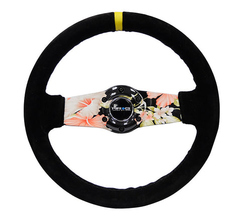 NRG RST-021S-SUN-Y: Japanese Floral Hydro-Dipped Suede Steering Wheel