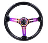Galaxy Classic Wood Grain Wheel 350mm 3 Neochrome Spokes-Black Sparkled Color - Drive NRG