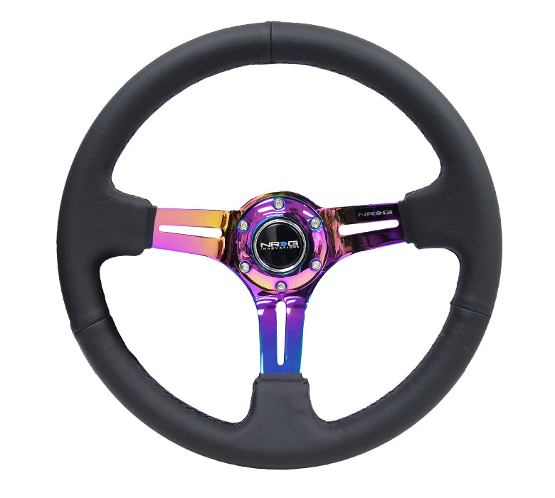 "NRG RST-018R-MCBS: 350mm Sport Steering Wheel (3"" Deep) Neochrome Leather w/ Black Stitching - Drive NRG"