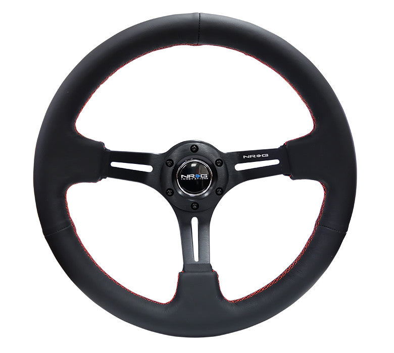"NRG RST-018R-RS: 350mm Sport Steering Wheel (3"" Deep) Black Leather with Red Stitching - Drive NRG"