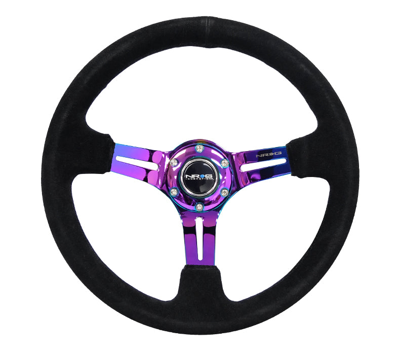 "NRG RST-018S-MCBS: 350mm Sport Steering Wheel (3"" Deep) Neochrome Suede w/ Black Stitching - Drive NRG"