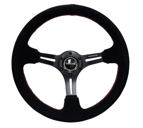 "NRG RST-018S-RS: 350mm Sport Steering Wheel (3"" Deep) Suede with Red Stitching"