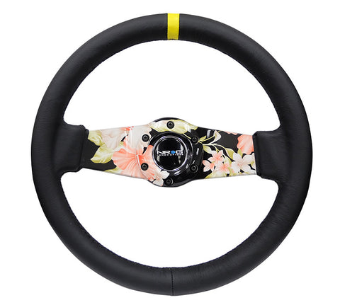 NRG RST-021R-SUN-Y: Japanese Floral Hydro-Dipped Leather Steering Wheel