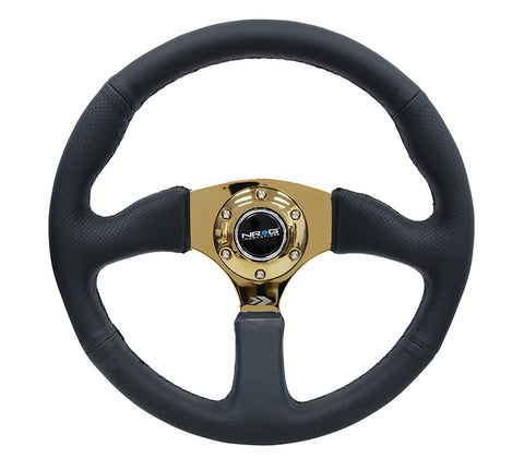 NRG RST-023GD-R: 350mm Race Style Leather Steering Wheel Black Stitching