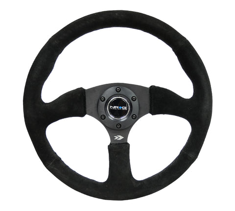 NRG RST-023MB-S: 350mm Race Style Leather Steering Wheel Matte Black Suede