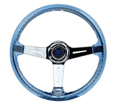 "NRG 350mm Sport Steering Wheel (2"" Deep) Acrylic Clear/Blue with Chrome Center (RST-027CH-BL)"