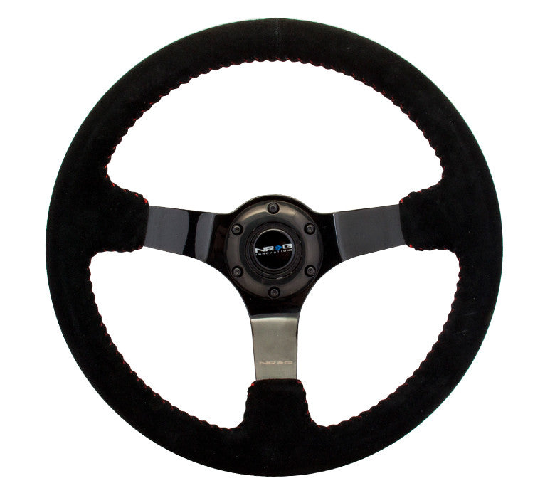 NRG 350mm Race Style Suede Steering Wheel with Red Stitching RST-036BK-S