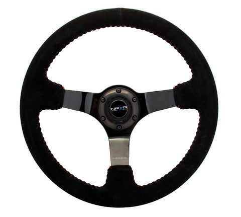 NRG RST-036BK-S: 350mm Suede Steering Wheel with Black Spokes Red Stitching