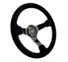 NRG RST-036BK-S: 350mm Suede Steering Wheel with Black Spokes Red Stitching - Drive NRG