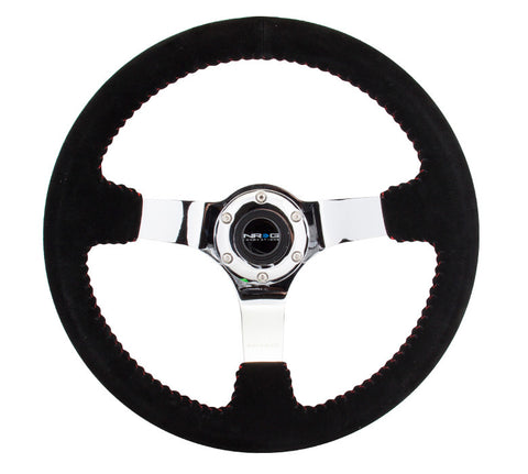 NRG RST-036CH-S: 350mm Suede Steering Wheel with Chrome Spokes Red Stitching