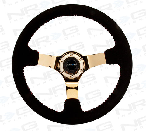 NRG RST-036GD-S: 350mm Suede Steering Wheel with Gold Spokes Red Stitching
