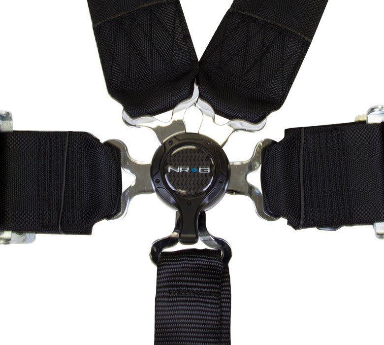 NRG SBH-6PCBK: 6 Point Seat Belt Harness / Cam Lock - Black - Drive NRG