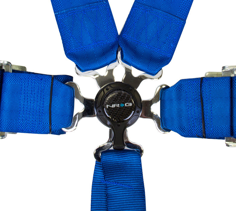 NRG SBH-6PCBL: 6 Point Seat Belt Harness / Cam Lock - Blue - Drive NRG