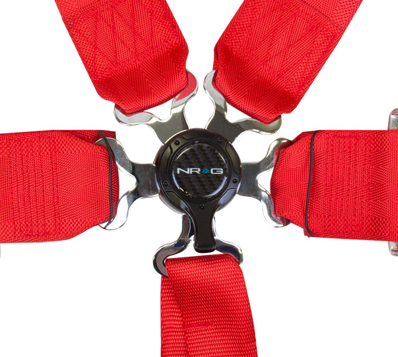 NRG SBH-6PCRD: 6 Point Seat Belt Harness / Cam Lock - Red