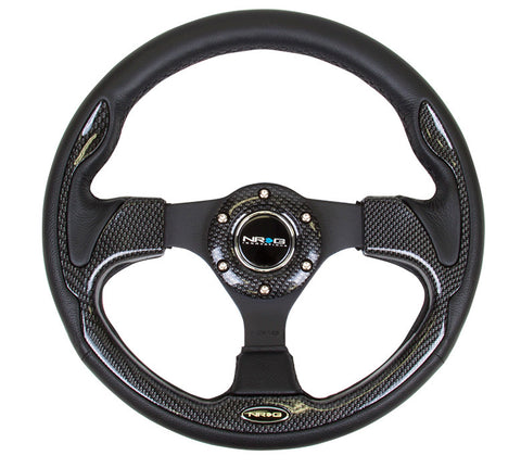 NRG RST-001CBL: 320mm Sport Steering Wheel with Carbon Fiber Inserts