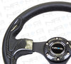 320mm Sport Leather Steering Wheel with Carbon Fiber Look Inserts (ST-001CFL)