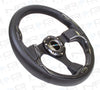 320mm Sport Leather Steering Wheel with Carbon Fiber Look Inserts (ST-001CFL) - Drive NRG