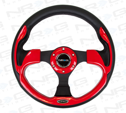 320mm Sport Leather Steering Wheel with Red Inserts (ST-001RD)